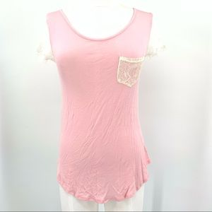 Hippie Rose Long Pink and Lace Short Sleeve Tee